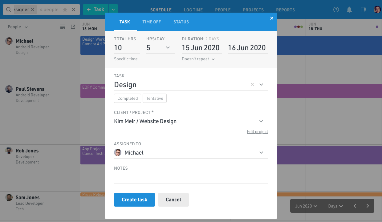 Add project tasks and assign to resources with resource management software