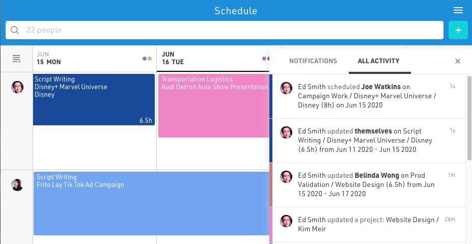 Live resource schedule updates and notifications with Float resource planning