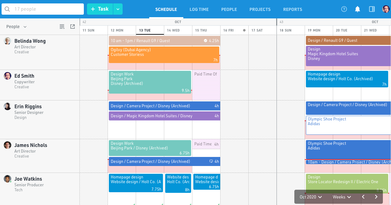Project scheduling software for teams