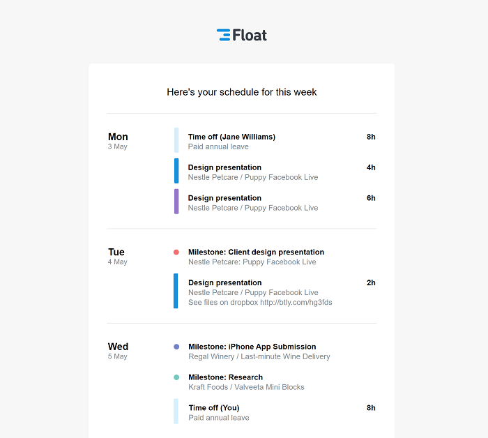 An email version of a person's Float schedule delivered to their inbox