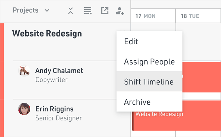 Shift an entire project timeline in a few clicks in Float