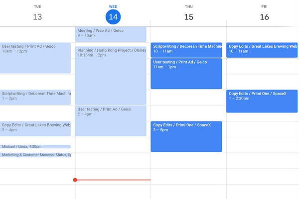 A list of events in Google Calendar ready to be synced with Float