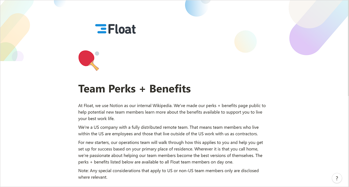 Our Team Perks + Benefits page in Notion